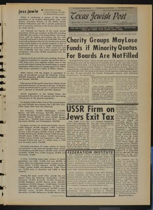 Primary view of object titled 'Texas Jewish Post (Fort Worth, Tex.), Vol. 27, No. 5, Ed. 1 Thursday, February 1, 1973'.