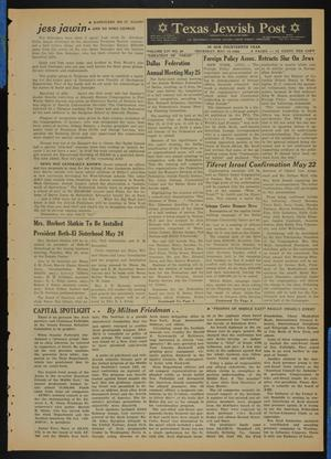 Primary view of object titled 'Texas Jewish Post (Fort Worth, Tex.), Vol. 14, No. 20, Ed. 1 Thursday, May 19, 1960'.