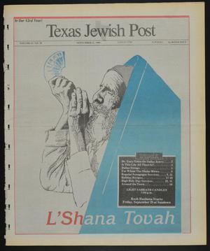 Primary view of object titled 'Texas Jewish Post (Fort Worth, Tex.), Vol. 43, No. 38, Ed. 1 Thursday, September 21, 1989'.