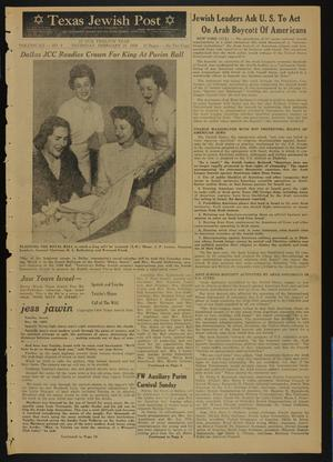 Primary view of object titled 'Texas Jewish Post (Fort Worth, Tex.), Vol. 12, No. 9, Ed. 1 Thursday, February 27, 1958'.