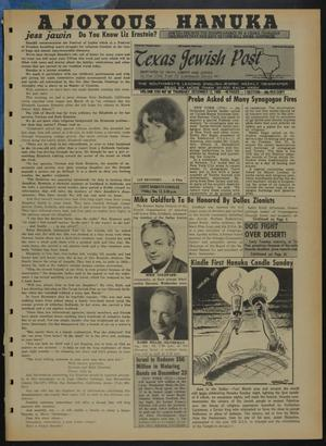 Primary view of object titled 'Texas Jewish Post (Fort Worth, Tex.), Vol. 22, No. 50, Ed. 1 Thursday, December 12, 1968'.