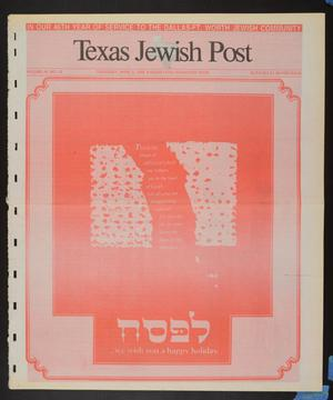 Primary view of object titled 'Texas Jewish Post (Fort Worth, Tex.), Vol. 46, No. 15, Ed. 1 Thursday, April 9, 1992'.