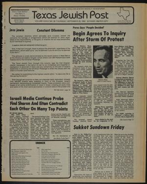 Primary view of object titled 'Texas Jewish Post (Fort Worth, Tex.), Vol. 36, No. 39, Ed. 1 Thursday, September 30, 1982'.