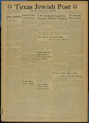 Primary view of object titled 'Texas Jewish Post (Fort Worth, Tex.), Vol. 5, No. 30, Ed. 1 Thursday, December 6, 1951'.