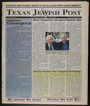 Primary view of object titled 'Texas Jewish Post (Fort Worth, Tex.), Vol. 56, No. 20, Ed. 1 Thursday, May 16, 2002'.