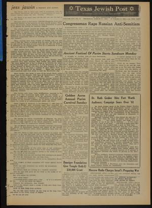 Primary view of object titled 'Texas Jewish Post (Fort Worth, Tex.), Vol. 16, No. 11, Ed. 1 Thursday, March 15, 1962'.