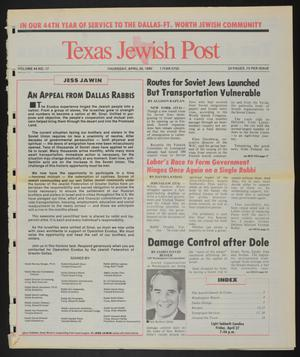 Primary view of object titled 'Texas Jewish Post (Fort Worth, Tex.), Vol. 44, No. 17, Ed. 1 Thursday, April 26, 1990'.
