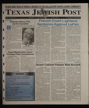 Primary view of object titled 'Texas Jewish Post (Fort Worth, Tex.), Vol. 52, No. 48, Ed. 1 Thursday, November 26, 1998'.