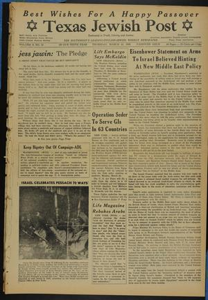 Primary view of object titled 'Texas Jewish Post (Fort Worth, Tex.), Vol. 10, No. 12, Ed. 1 Thursday, March 22, 1956'.