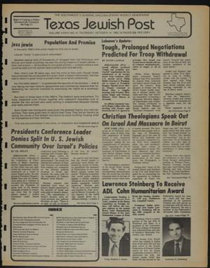 Primary view of object titled 'Texas Jewish Post (Fort Worth, Tex.), Vol. 36, No. 41, Ed. 1 Thursday, October 14, 1982'.