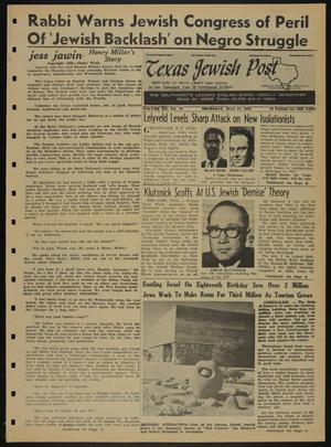 Primary view of object titled 'Texas Jewish Post (Fort Worth, Tex.), Vol. 20, No. 19, Ed. 1 Thursday, May 12, 1966'.
