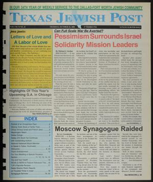 Primary view of object titled 'Texas Jewish Post (Fort Worth, Tex.), Vol. 54, No. 43, Ed. 1 Thursday, October 26, 2000'.