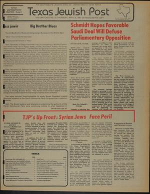 Primary view of object titled 'Texas Jewish Post (Fort Worth, Tex.), Vol. 35, No. 15, Ed. 1 Thursday, April 9, 1981'.