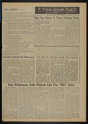 Primary view of object titled 'Texas Jewish Post (Fort Worth, Tex.), Vol. 16, No. 22, Ed. 1 Thursday, May 31, 1962'.