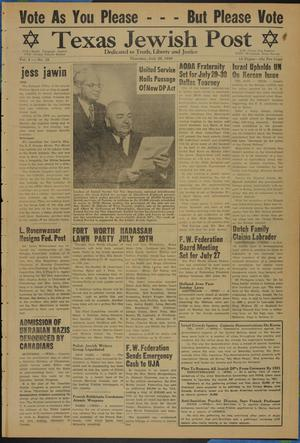 Primary view of object titled 'Texas Jewish Post (Fort Worth, Tex.), Vol. 4, No. 15, Ed. 1 Thursday, July 20, 1950'.