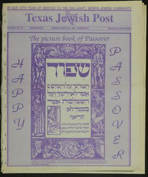 Primary view of object titled 'Texas Jewish Post (Fort Worth, Tex.), Vol. 47, No. 12, Ed. 1 Thursday, March 25, 1993'.