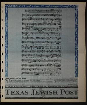Primary view of object titled 'Texas Jewish Post (Fort Worth, Tex.), Vol. 50, No. 38, Ed. 1 Thursday, September 19, 1996'.