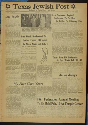 Primary view of object titled 'Texas Jewish Post (Fort Worth, Tex.), Vol. 6, No. 5, Ed. 1 Thursday, January 31, 1952'.