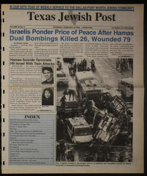 Primary view of object titled 'Texas Jewish Post (Fort Worth, Tex.), Vol. 50, No. 9, Ed. 1 Thursday, February 29, 1996'.