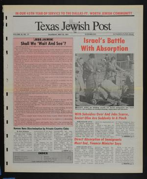 Primary view of object titled 'Texas Jewish Post (Fort Worth, Tex.), Vol. 45, No. 21, Ed. 1 Thursday, May 23, 1991'.