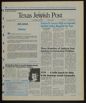 Primary view of object titled 'Texas Jewish Post (Fort Worth, Tex.), Vol. 43, No. 39, Ed. 1 Thursday, September 28, 1989'.