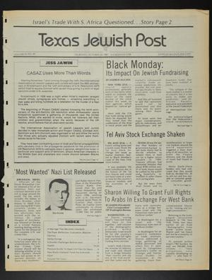Primary view of object titled 'Texas Jewish Post (Fort Worth, Tex.), Vol. 41, No. 44, Ed. 1 Thursday, October 29, 1987'.