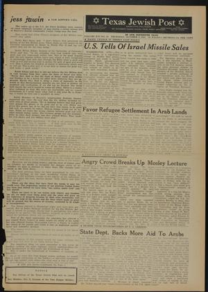 Primary view of object titled 'Texas Jewish Post (Fort Worth, Tex.), Vol. 16, No. 40, Ed. 1 Thursday, October 4, 1962'.