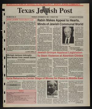 Primary view of object titled 'Texas Jewish Post (Fort Worth, Tex.), Vol. 47, No. 47, Ed. 1 Thursday, November 25, 1993'.