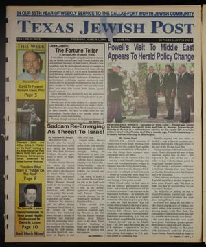 Primary view of object titled 'Texas Jewish Post (Fort Worth, Tex.), Vol. 55, No. 9, Ed. 1 Thursday, March 1, 2001'.