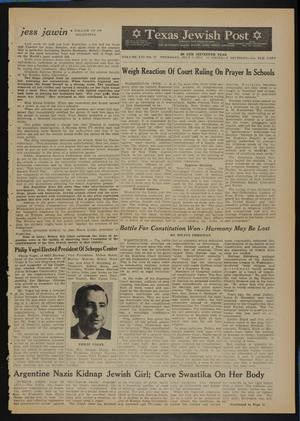 Primary view of object titled 'Texas Jewish Post (Fort Worth, Tex.), Vol. 16, No. 27, Ed. 1 Thursday, July 5, 1962'.