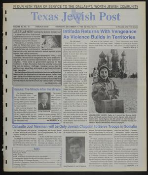 Primary view of object titled 'Texas Jewish Post (Fort Worth, Tex.), Vol. 46, No. 51, Ed. 1 Thursday, December 17, 1992'.