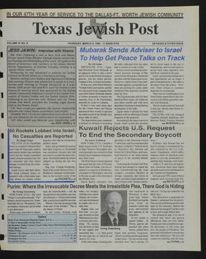 Primary view of object titled 'Texas Jewish Post (Fort Worth, Tex.), Vol. 47, No. 9, Ed. 1 Thursday, March 4, 1993'.