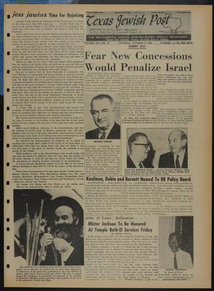 Primary view of object titled 'Texas Jewish Post (Fort Worth, Tex.), Vol. 22, No. 41, Ed. 1 Thursday, October 10, 1968'.