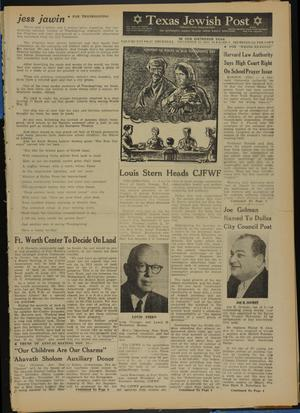Primary view of object titled 'Texas Jewish Post (Fort Worth, Tex.), Vol. 16, No. 47, Ed. 1 Thursday, November 22, 1962'.