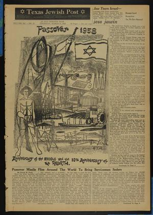 Primary view of object titled 'Texas Jewish Post (Fort Worth, Tex.), Vol. 12, No. 13, Ed. 1 Thursday, March 27, 1958'.