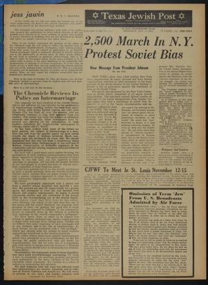 Primary view of object titled 'Texas Jewish Post (Fort Worth, Tex.), Vol. 18, No. 45, Ed. 1 Thursday, November 5, 1964'.
