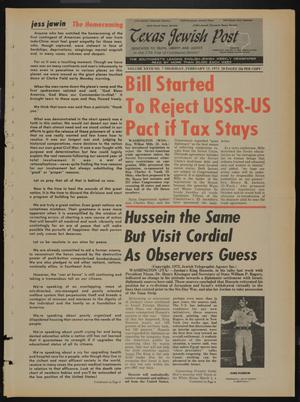 Primary view of object titled 'Texas Jewish Post (Fort Worth, Tex.), Vol. 27, No. 7, Ed. 1 Thursday, February 15, 1973'.