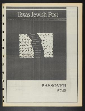 Primary view of object titled 'Texas Jewish Post (Fort Worth, Tex.), Vol. 42, No. 13, Ed. 1 Thursday, March 31, 1988'.