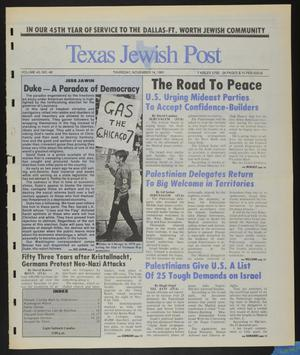 Primary view of object titled 'Texas Jewish Post (Fort Worth, Tex.), Vol. 45, No. 46, Ed. 1 Thursday, November 14, 1991'.