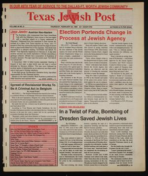 Primary view of Texas Jewish Post (Fort Worth, Tex.), Vol. 49, No. 8, Ed. 1 Thursday, February 23, 1995