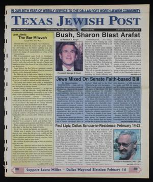 Primary view of object titled 'Texas Jewish Post (Fort Worth, Tex.), Vol. 56, No. 7, Ed. 1 Thursday, February 14, 2002'.