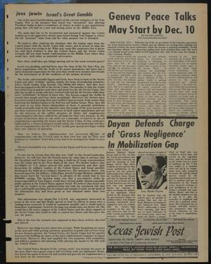 Primary view of object titled 'Texas Jewish Post (Fort Worth, Tex.), Vol. 27, No. 47, Ed. 1 Thursday, November 22, 1973'.