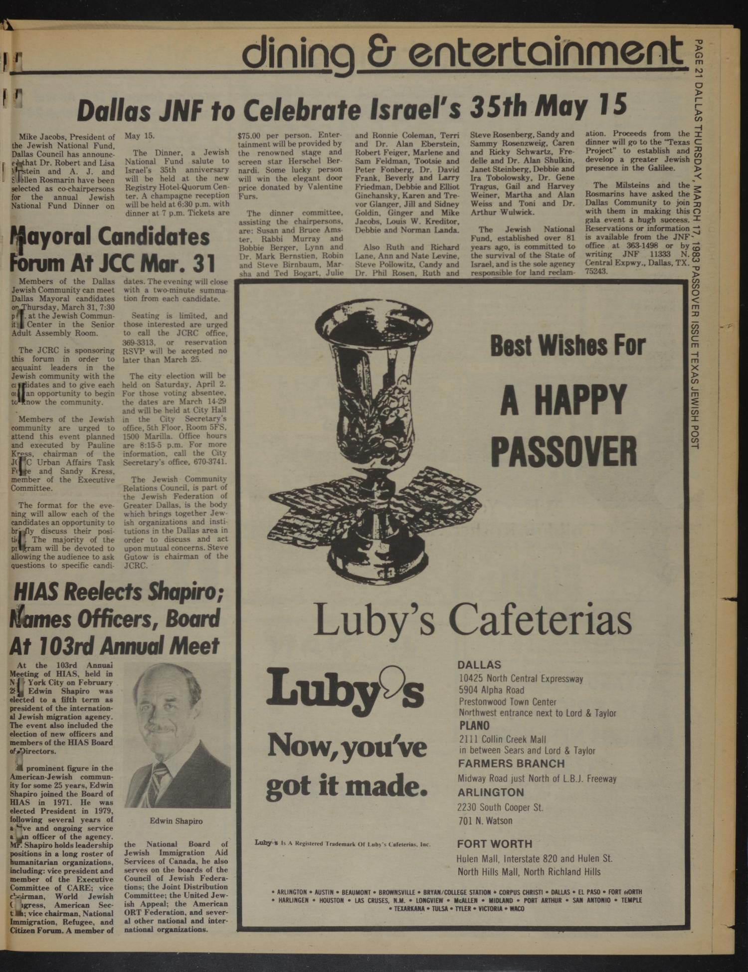 Texas Jewish Post (Fort Worth, Tex ), Vol  37, No  11, Ed  1