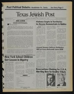 Primary view of object titled 'Texas Jewish Post (Fort Worth, Tex.), Vol. 42, No. 39, Ed. 1 Thursday, September 29, 1988'.