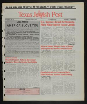 Primary view of object titled 'Texas Jewish Post (Fort Worth, Tex.), Vol. 45, No. 27, Ed. 1 Thursday, July 4, 1991'.