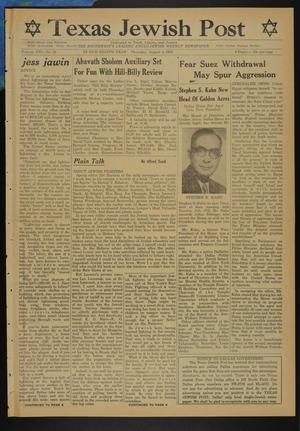 Primary view of object titled 'Texas Jewish Post (Fort Worth, Tex.), Vol. 8, No. 31, Ed. 1 Thursday, August 5, 1954'.