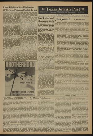 Primary view of object titled 'Texas Jewish Post (Fort Worth, Tex.), Vol. 14, No. 7, Ed. 1 Thursday, February 18, 1960'.