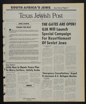 Primary view of object titled 'Texas Jewish Post (Fort Worth, Tex.), Vol. 43, No. 6, Ed. 1 Thursday, February 9, 1989'.