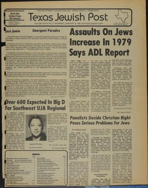 Primary view of object titled 'Texas Jewish Post (Fort Worth, Tex.), Vol. 35, No. 2, Ed. 1 Thursday, January 8, 1981'.
