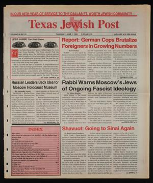 Primary view of object titled 'Texas Jewish Post (Fort Worth, Tex.), Vol. 49, No. 22, Ed. 1 Thursday, June 1, 1995'.